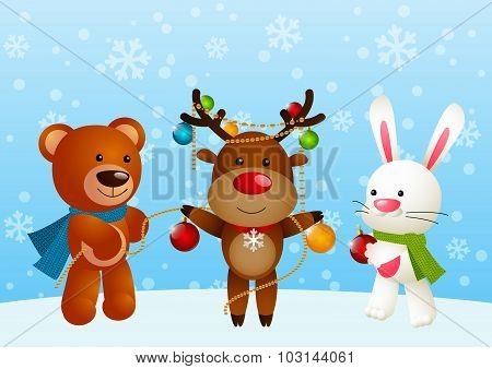 Funny animals on winter background