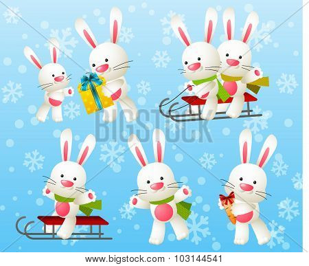 Set of white rabbit characters