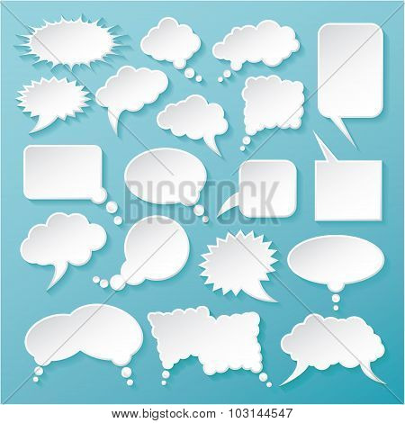 Shiny White Paper Bubbles For Speech On An Blue Background.