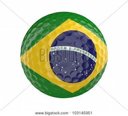 Golf ball 3D render with flag of Brazil, isolated on white