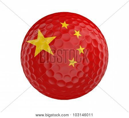Golf ball 3D render with flag of China, isolated on white