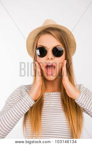 Surprised Girl With A Hat And Glasses