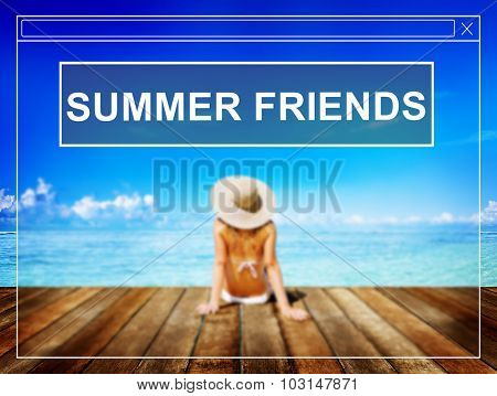 Summer Friends Beach Friendship Holiday Vacation Concept