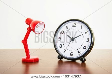 Red Desk Lamp With Alarm Clock