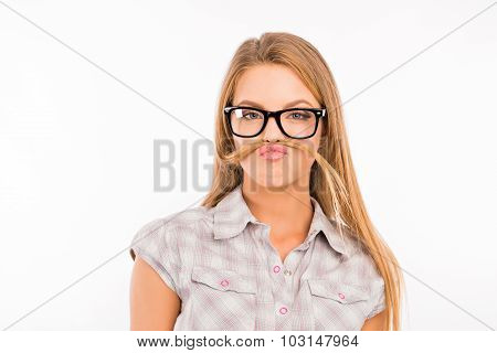 Funny Girl Fooling Around And Pouting With Glasses