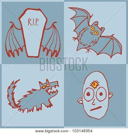 Vector set of funny Halloween monsters. Art for print