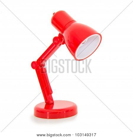 Modern Red Color Desk Lamp On White Background