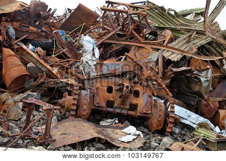 Pile of scrap metal waste