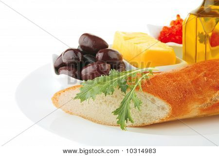 Served Baguette And Caviar