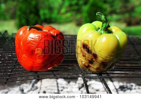 Grilled pepper closeup