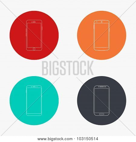 Vector modern smartphone colorful icons set