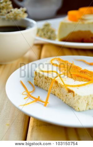 Sweet creamy pudding with cottage cheese and pumpkin souffle