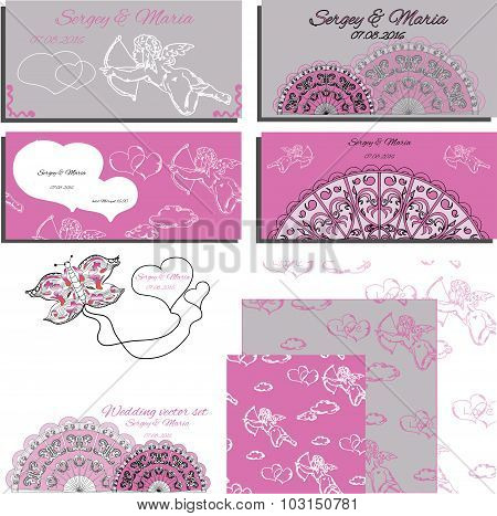 Set of wedding invitation with angels and laces, cards and wrapp