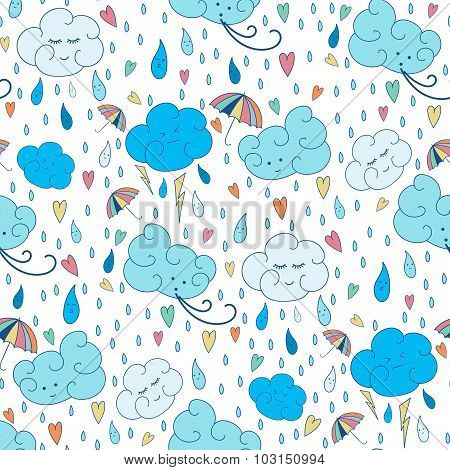 Vector seamless rain theme pattern. Colorful doodling autumn design with clouds.