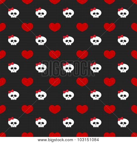 Red Hearts With Skulls Over Dark Background