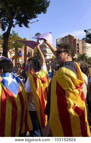 Like A Superheros At National Day Of Catalonia
