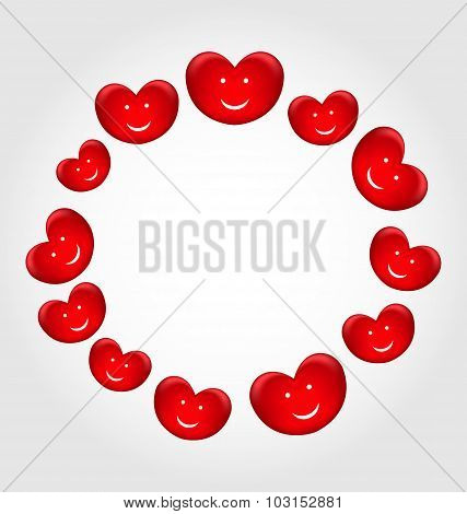 Round frame made in smiling hearts for Valentines Day