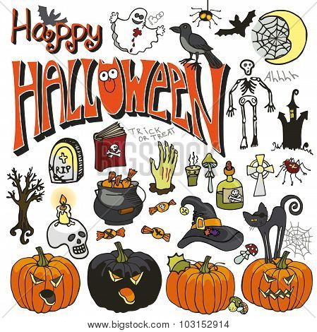 Halloween doodle elements set.Isolated colored icons,lettering