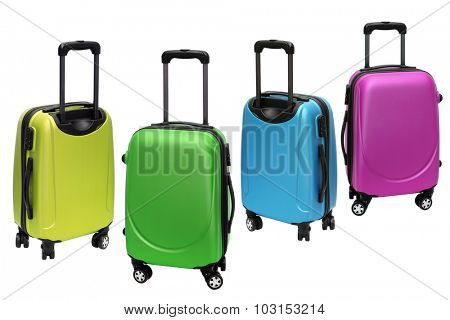 Colourful Polycarbonate Luggage on White Background