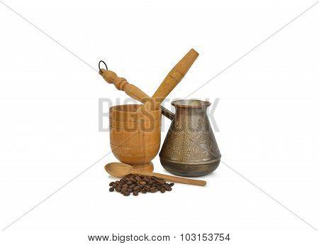 Coffee Pot, Coffee And Mortar