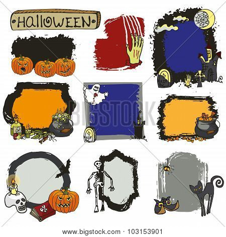 Halloween spooky lebel set.Isolated Doodles badges