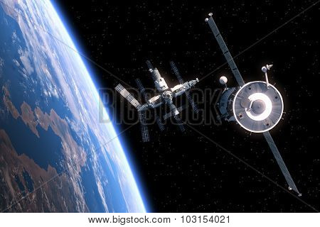 The Spacecraft Flies To Space Station
