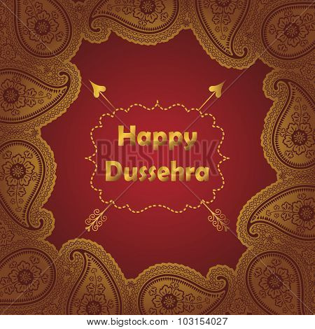 Happy Dussehra.Gold Paisley frame holiday background