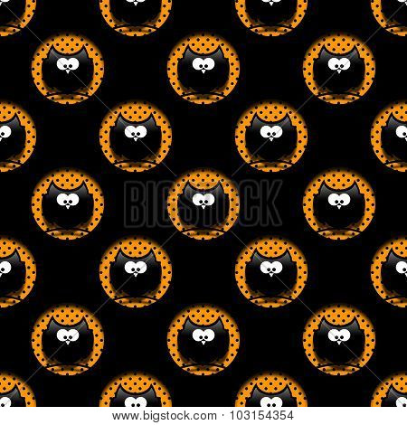 Seamless Halloween Pattern With Cartoon Owls In Hollows Over Black