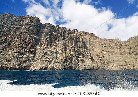Scenic view of famous cliffs Los Gigantes in Tenerife Canary islands Spain.