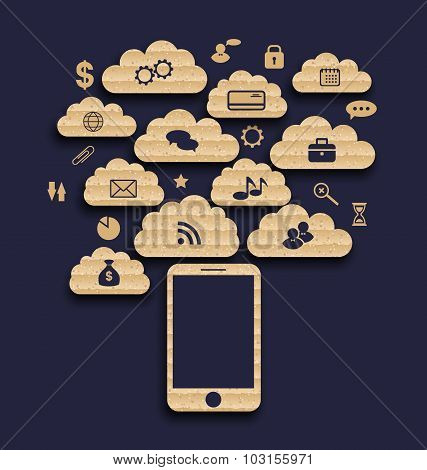Smart device with cloud of application icons, business infograph