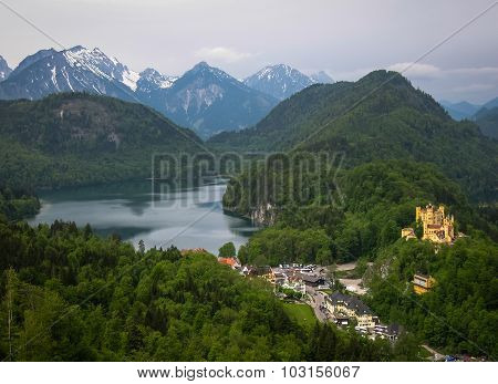 View Of Picturesque Castle Hohenschwangau In Bavaria, Germany