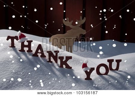 Christmas Card With Moose, Hat And Snow, Thank You, Snowflakes
