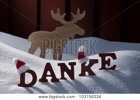 Christmas Card With Moose, Hat And Snow, Danke MeanThank You