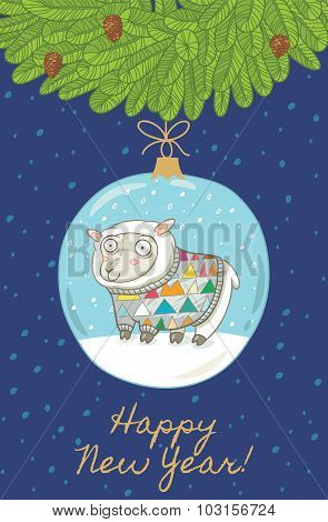 Happy New Year. Christmas card with ball and sheep