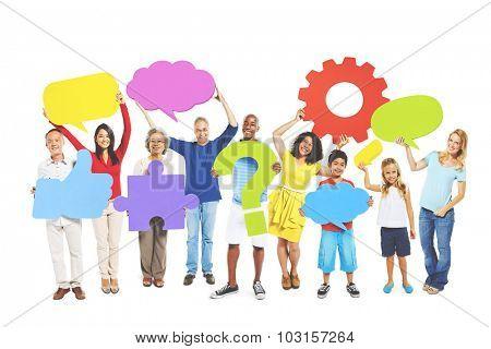 Multi-Ethnic Group People Speech Bubbles Concept