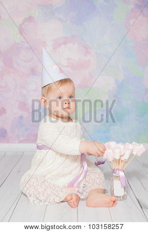 Little girl celebrating her first birthday