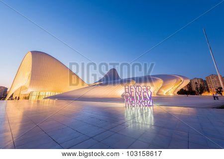 BAKU- JULY 20: Heydar Aliyev Center on July 20, 2015 in Baku, Azerbaijan. Heydar Aliyev Center won the Design Museum's Designs of the Year Award in 2014