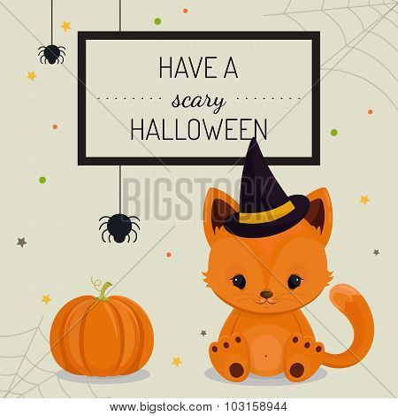 Halloween card or background with little fox.