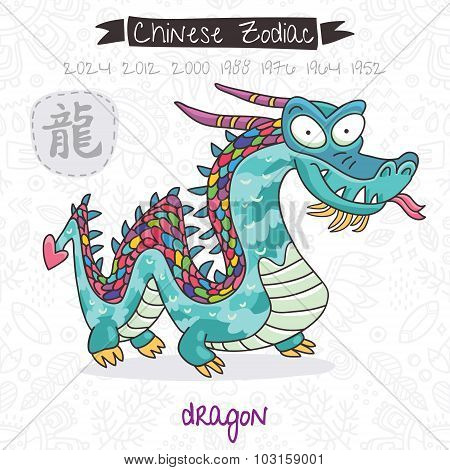 Chinese Zodiac. Sign Dragon. Vector illustration