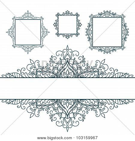 Isolated Abstract Floral pattern on white background.