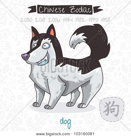 Chinese Zodiac. Sign Dog. Vector illustration