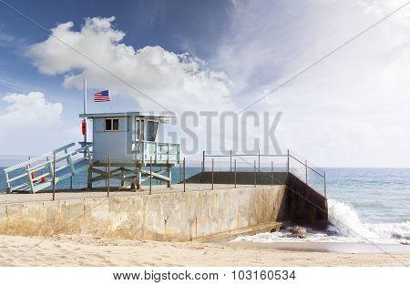 Lifeguard Tower In Santa Monica, California, Usa.
