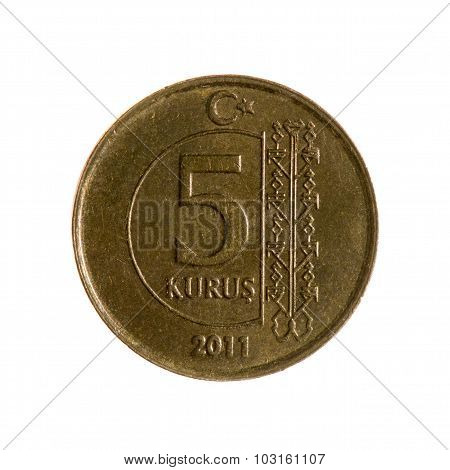 Turkey Kurush Coin Five Isolated On White   Background. Top View.