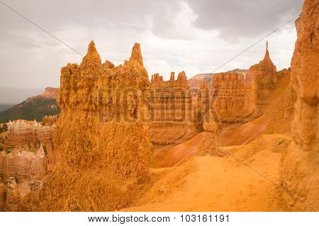 Sandstone Sculptures After The Rain In Bryce Canyon