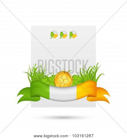 Natural card with coin, clovers, grass and ribbon -  in traditio