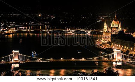 night view on Danube and city of Budapest