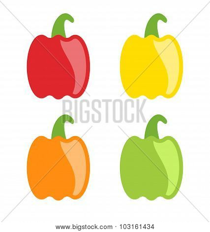 Set Colorful Bell Peppers Isolated