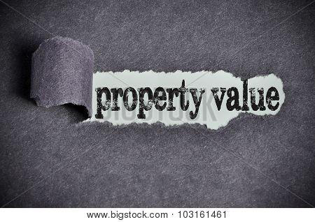 Property Value Word Under Torn Black Sugar Paper