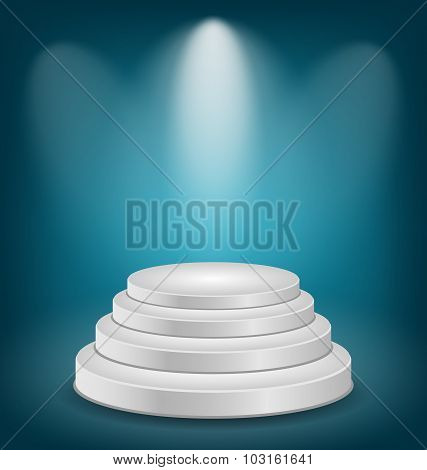 Empty white podium with light