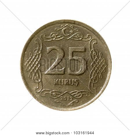 Twenty-five Coin Kurush Turkey Fone.vid Isolated On A White  Background. Top View.